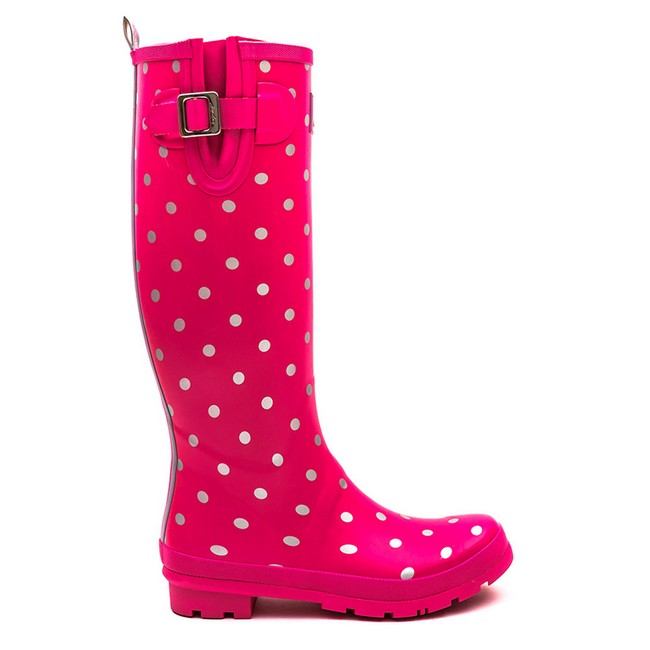 Joules Welly Print Pink Neon Spot